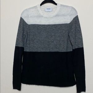 White to black striped sweater
